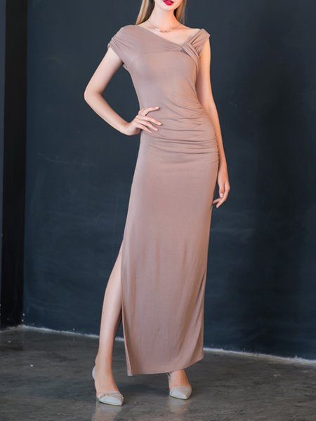 Pink Bodycon Short Sleeve Maxi Dress