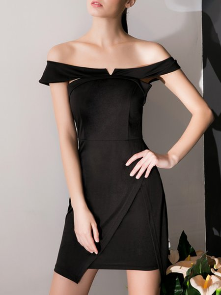 Black Elegant Bodycon Asymmetric Mini Dress