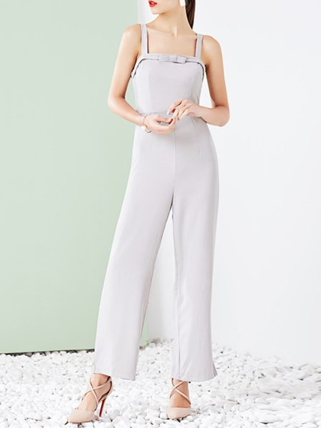 Polyester Spaghetti Elegant Bow Jumpsuit