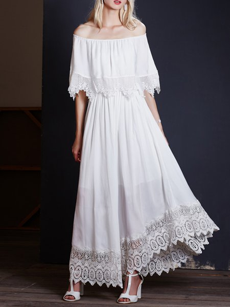 White Paneled Elegant Maxi Dress