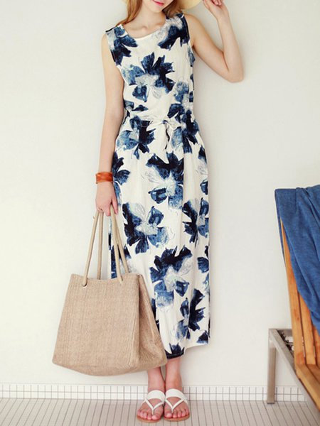 White H-line Sleeveless Polyester Midi Dress