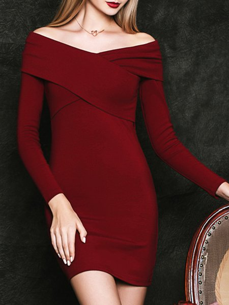 Burgundy Elegant Bodycon Plain Mini Dress