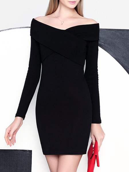 Black Long Sleeve Plain Mini Dress
