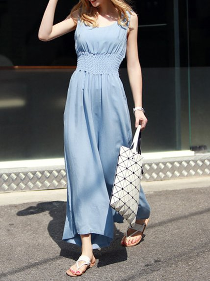 Light Blue Sleeveless Crew Neck Jumpsuit