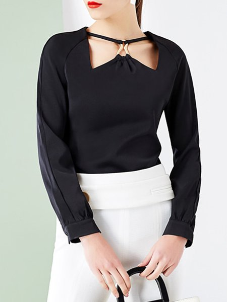 Black Polyester Vintage Blouse