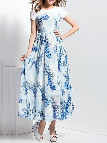 White Short Sleeve A-line Chiffon Midi Dress