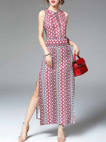 Multicolor Boho Polyester Maxi Dress