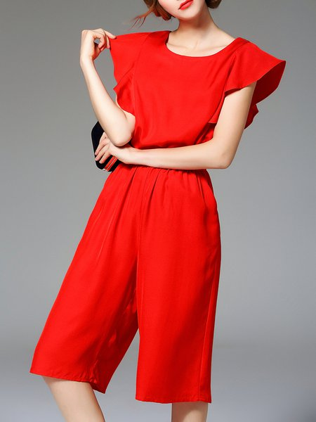 Simple Tencel Pockets Plain Frill Sleeve Jumpsuit