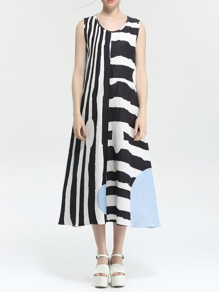 Multicolor Stripes Printed Linen Sleeveless Shirt Dress