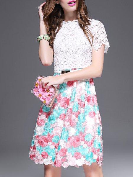 White A-line Girly Guipure Lace Mini Dress