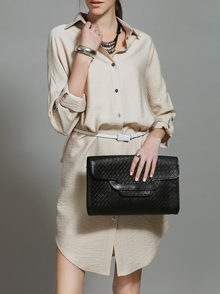 Apricot Shirt Collar Shift Plain Casual Shirt Dress