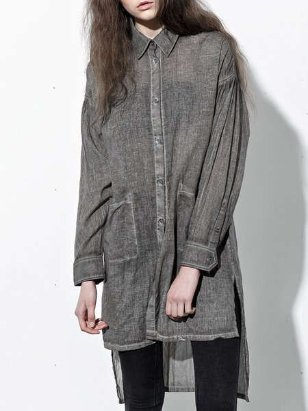 Gray Cotton Long Sleeve Shirt Collar Pockets Tunic
