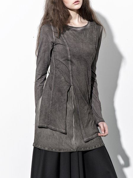 Brown Paneled Statement Cotton Crew Neck Tunic