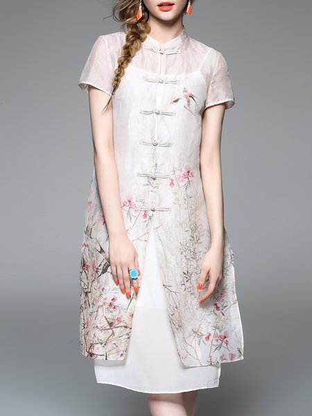 Short Sleeve Silk Vintage Shirt Dress