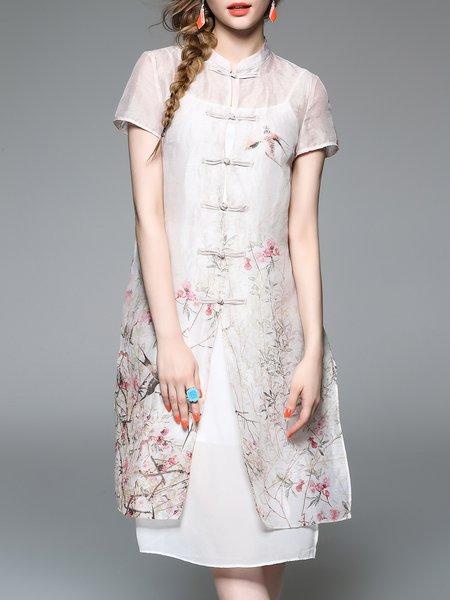 Short Sleeve Silk Vintage Shirt Dress