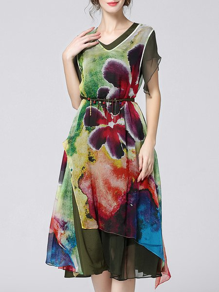 Green Short Sleeve Printed A-line Floral Midi Dress