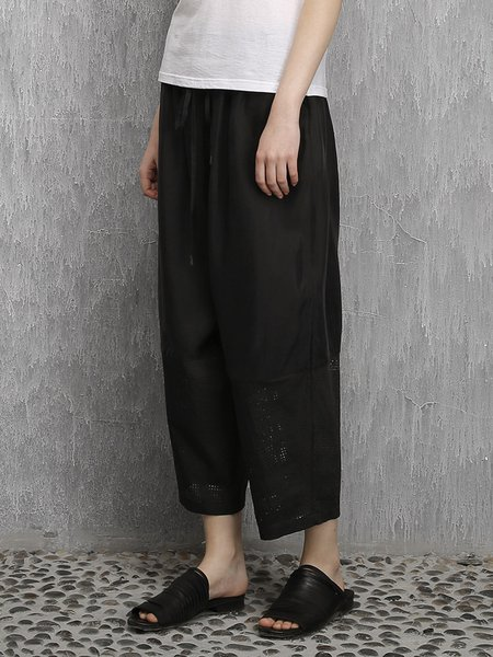 Black Plain Casual Pierced Polyester Wide Leg Pant