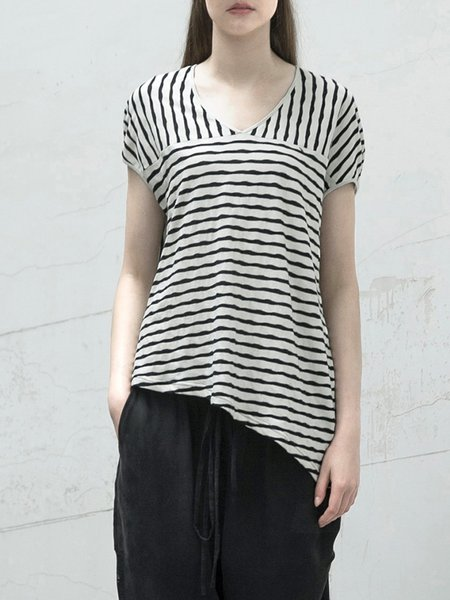 Casual Short Sleeve Asymmetrical T-Shirt