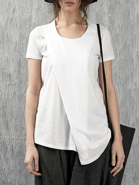 Casual Cotton Short Sleeve Asymmetrical Plain Blouse