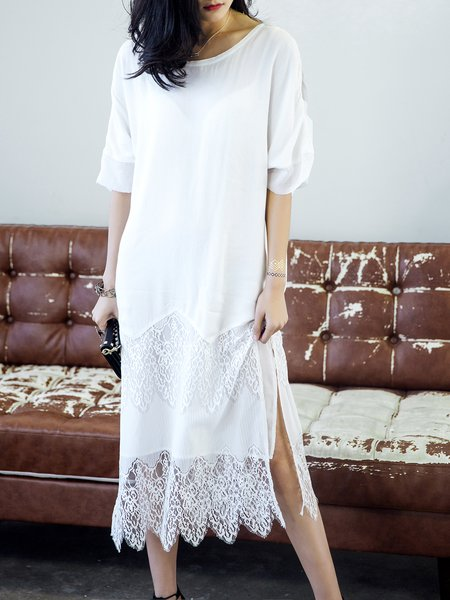 White Crew Neck Slit Swing Half Sleeve Midi Dress