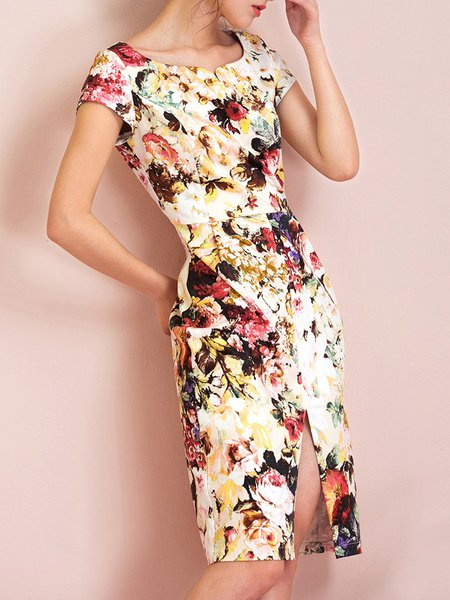 Floral Short Sleeve Elegant Midi Dress