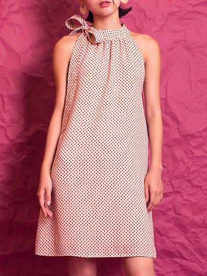 Elegant Bow Sleeveless Mini Dress