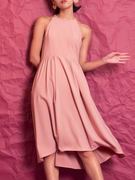 Pink Plain Sleeveless A-line Midi Dress