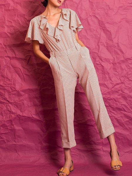 Pink Floral Ruffled A-line Elegant Jumpsuit
