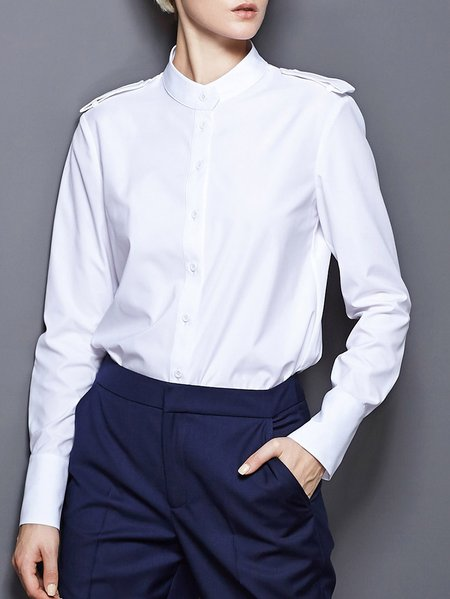 Stand Collar Polyester Simple Long Sleeve Blouse