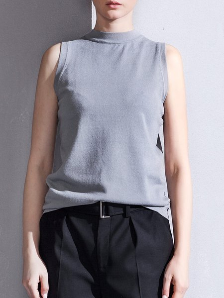 Nylon Sleeveless Crew Neck Casual Tank