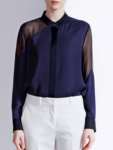 Navy Blue Paneled Long Sleeve Blouse