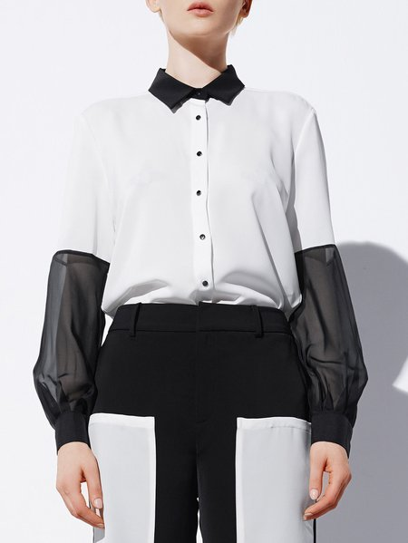 White Shirt Collar Casual Blouse