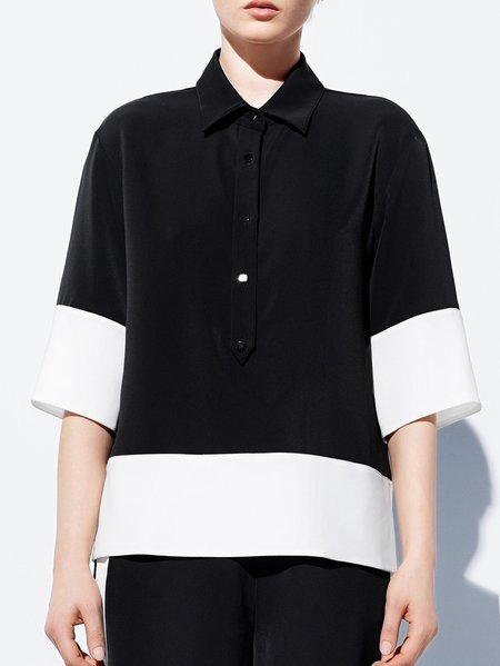 Black Casual Plain Shirt Collar Polyester Blouse
