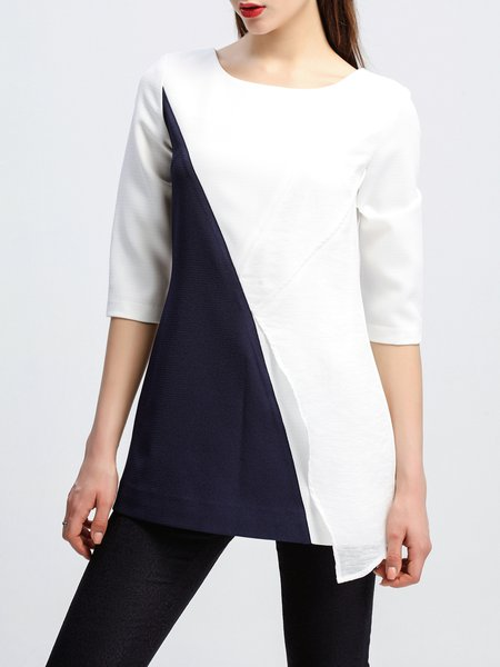 Blue Simple Polyester Short Sleeved Top