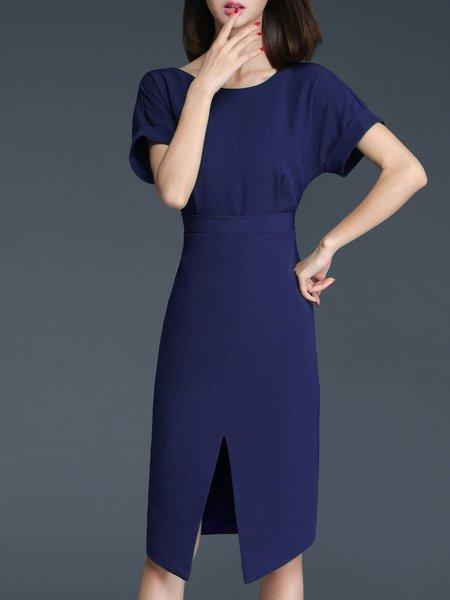 Plain Elegant Short Sleeve Midi Dress