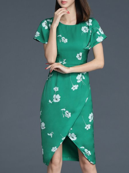 Elegant Floral-print Frill Sleeve Midi Dress