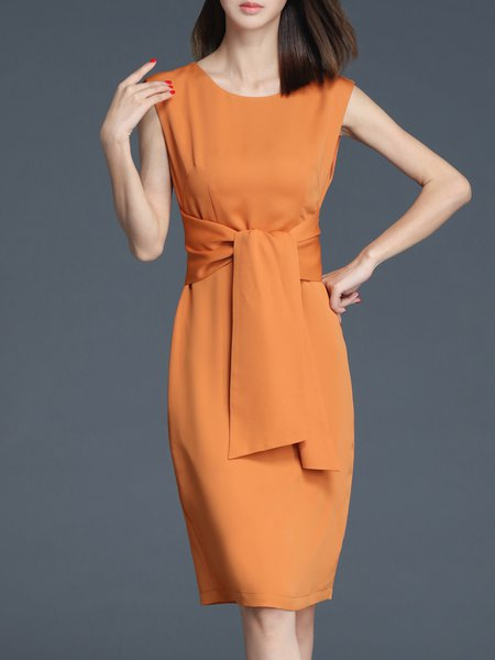 Orange Elegant Polyester Crew Neck Midi Dress