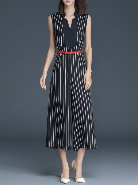 Black Paneled Stripes Sleeveless V Neck Jumpsuit