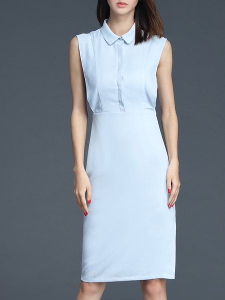 Sleeveless Plain Sheath Shirt Collar Simple Midi Dress