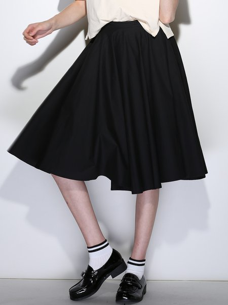 Black Polyester Casual A-line Midi Skirt