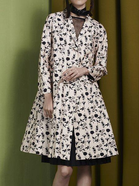 Cream Lapel Long Sleeve Floral-print Coat