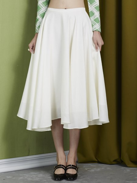 White Plain Sweet Swing Silk Midi Skirt