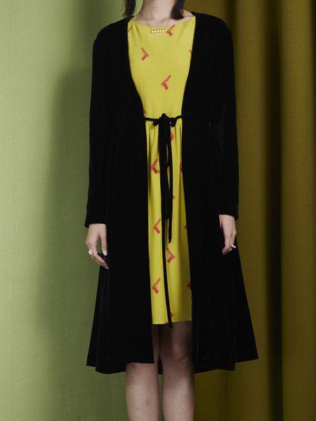 Black Long Sleeve Plain Silk Coat