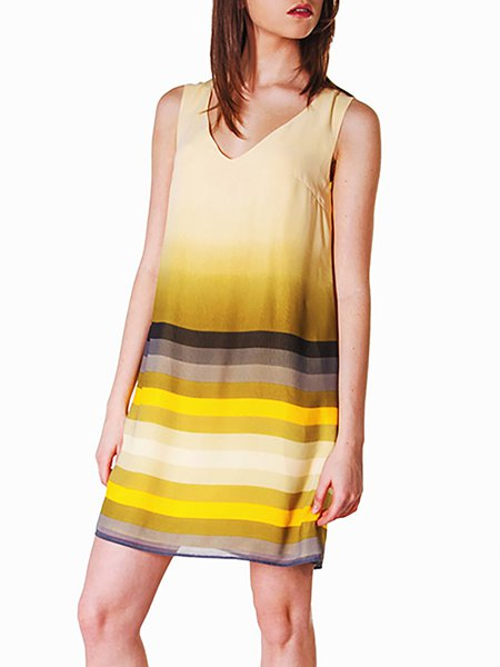 A-line Casual Sleeveless Chiffon Stripes Mini Dress
