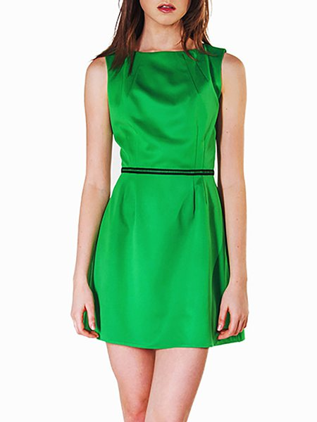 Cotton Plain Casual Sleeveless Sheath Mini Dress