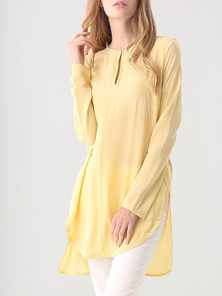 Yellow Asymmetric Long Sleeve Plain Silk Tunic