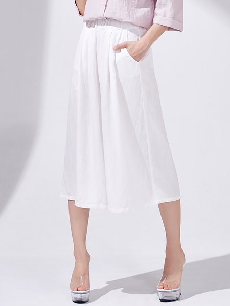 White Simple Plain Tencel Wide Leg Pants