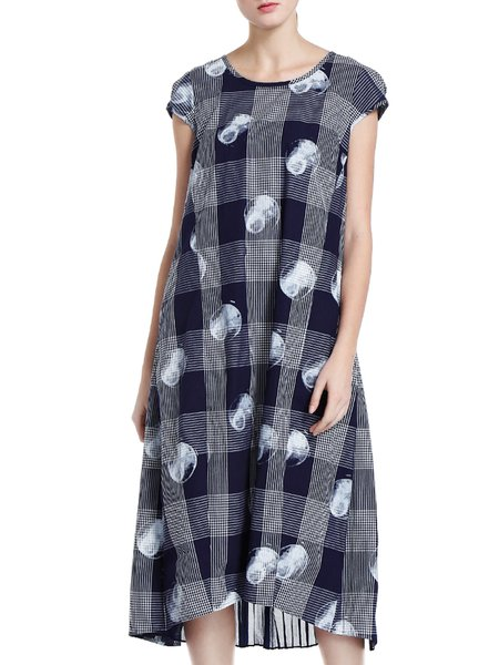 Multicolor Crew Neck Paneled Short Sleeve Cotton Midi Dress