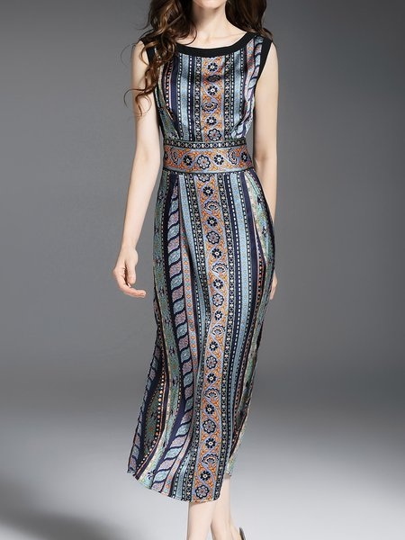 Sleeveless Sheath Casual Printed Midi Dress