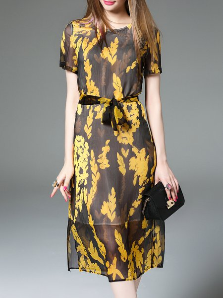 Yellow Short Sleeve A-line Floral-print Crew Neck Midi Dress
